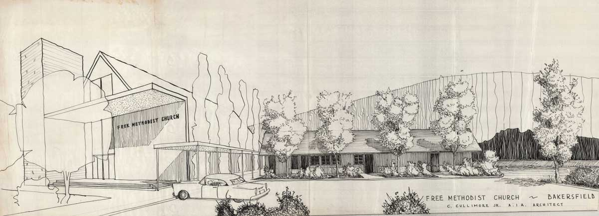 Architectural rendering of the Free Methodist Church, Bakersfield