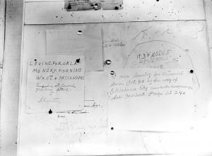 Camp bulletin board, Shafter, California