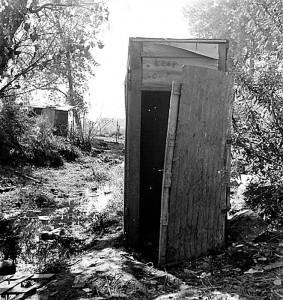 Privy in cotton camp, California