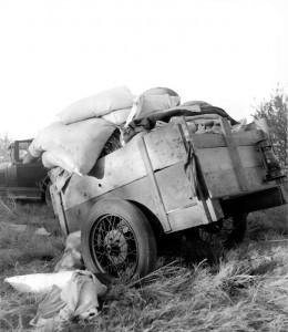 Roadside camp near Bakersfield, California