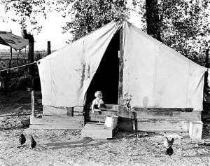 Orange picker's camp, Exeter, California