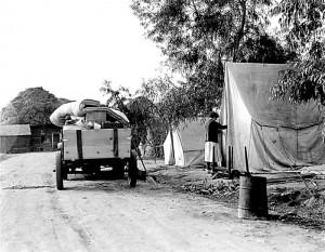 Cotton camp near Exeter, California